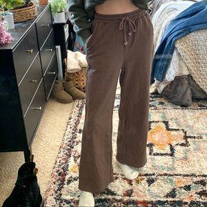 Shein Brown High Rise Wide Leg Flare Sweatpants